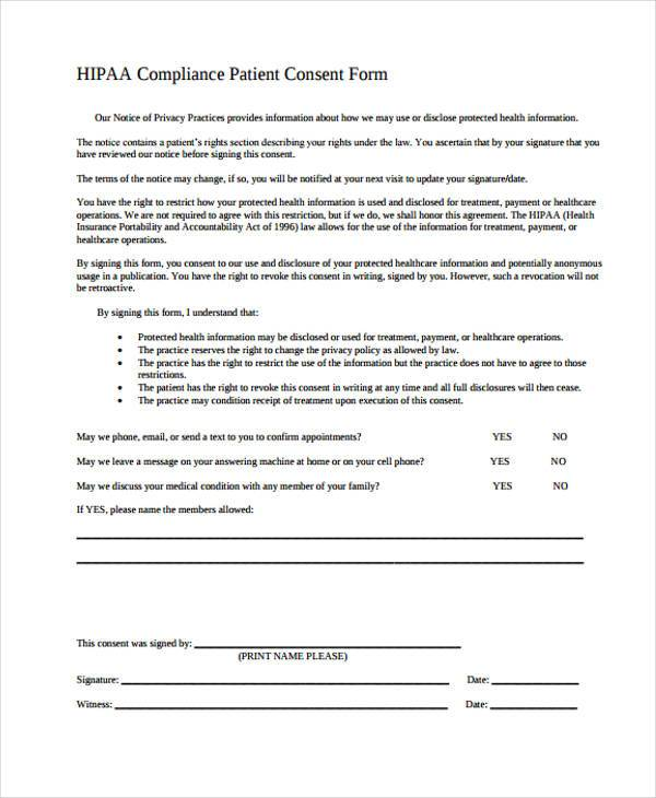 Consent Forms in PDF - hipaa consent forms