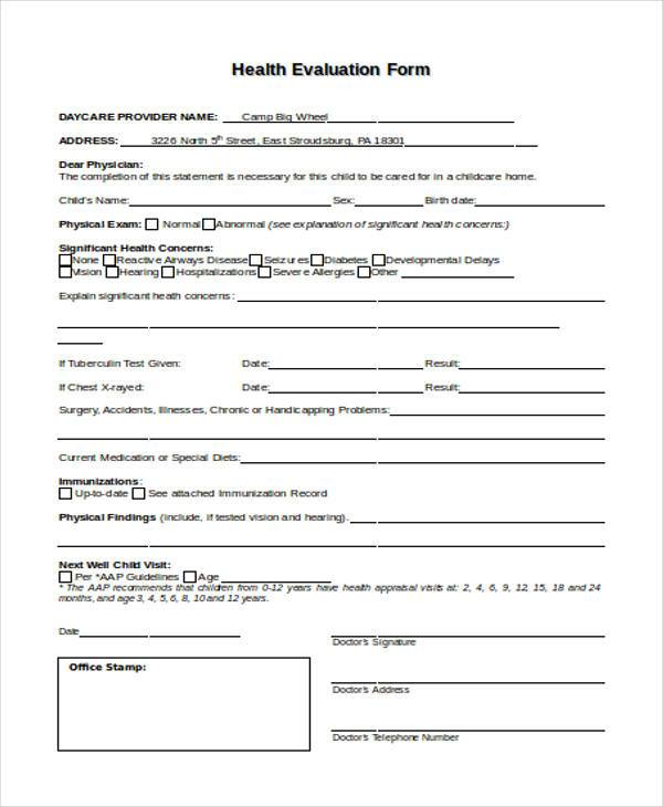 Sample Health Evaluation Forms - 7+ Free Documents in Word, PDF - evaluation form in word