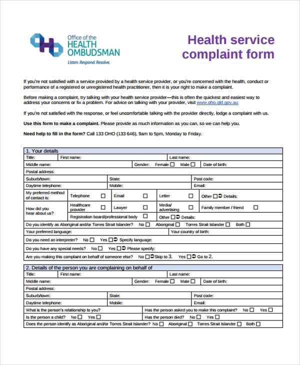 Sample Banking Ombudsman Complaint Form Complaints Procedures How