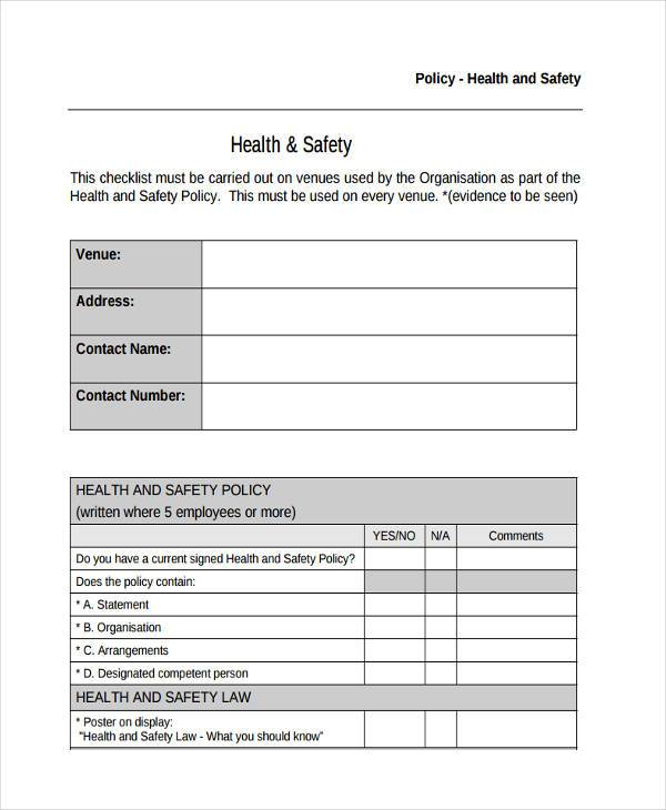 Sample Policy Review Forms - 8+ Free Documents in Word, PDF - sample health and safety policy