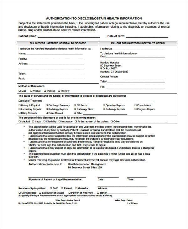 Release Form Hospital | Bill Of Lading And Charter Party