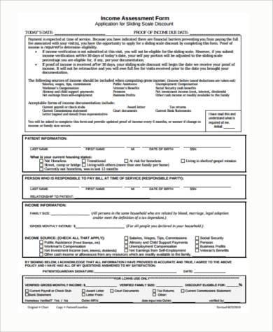 income assessment form node2001-cvresumepaasprovider