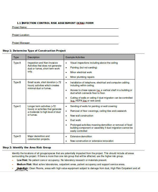 infection control risk assessment form - Solidgraphikworks