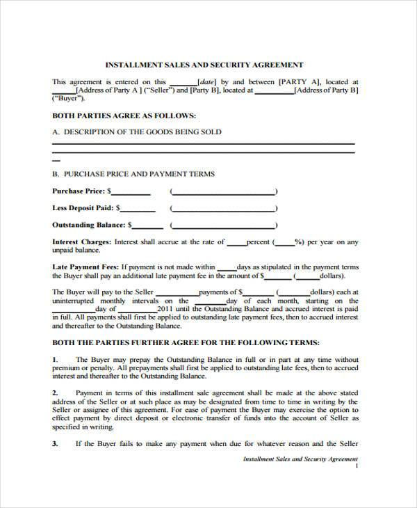 7+ Installment Agreement Form Samples - Free Sample, Example - sample security agreement