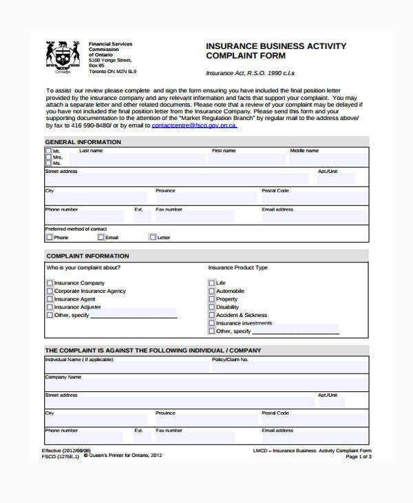 Sample Insurance Complaint Forms - 7+ Free Documents in Word, PDF - financial ombudsman complaint form