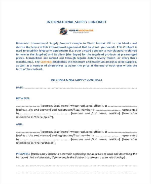 Sample Supply Contract Forms - 7+ Free Documents in Word, PDF - supply contract templates