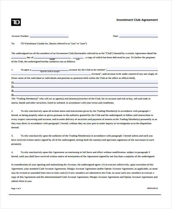 investment club agreement - Minimfagency - Club Bylaws Example