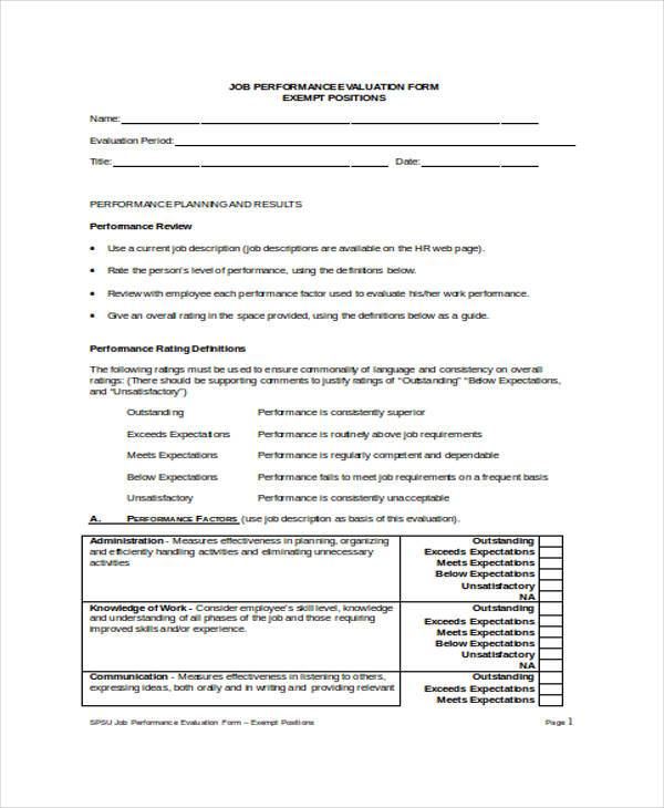 9+ Employee Performance Evaluation Form Samples - Free Sample - job performance evaluation form templates