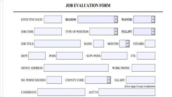 9+ Job Evaluation Form Samples - Free Sample, Example Format Download