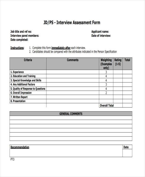 8+ Interview Assessment Form Samples - Free Sample, Example Format