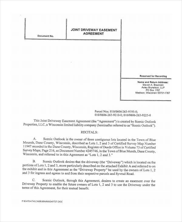 6+ Driveway Easement Agreement Form Samples - Free Sample, Example - agreement form sample