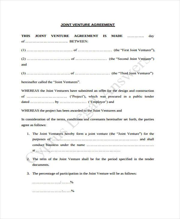 Sample Joint Venture Agreement Forms - 8+ Free Documents in Word, PDF - joint venture agreement