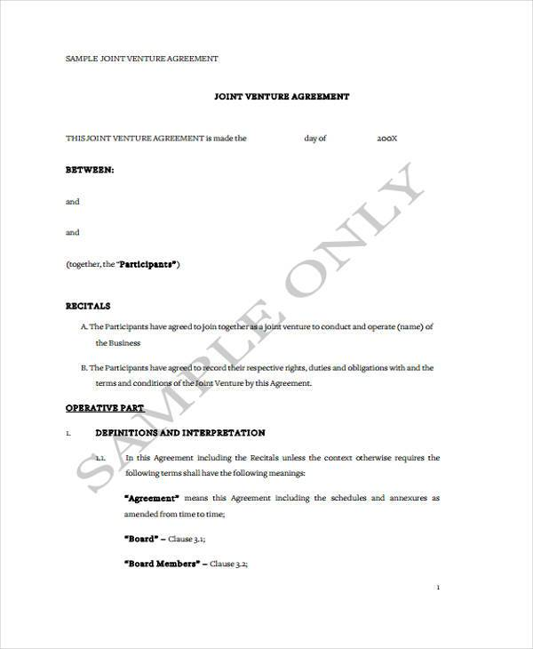 Sample Joint Venture Agreement Forms - 8+ Free Documents in Word, PDF - sample joint venture agreement