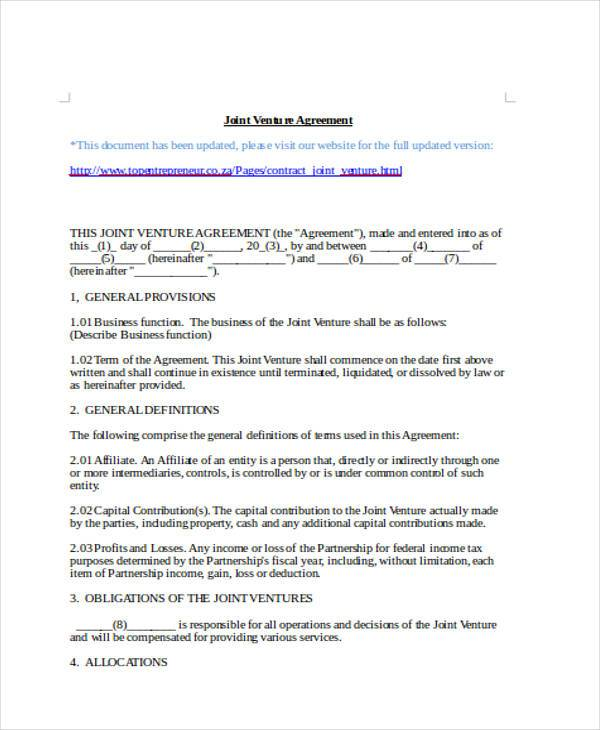 Sample Joint Venture Agreement Forms - 8+ Free Documents in Word, PDF - joint venture agreement sample word format
