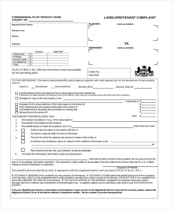 Civil Complaint Form Civil Complaint Form Sample Civil Complaint