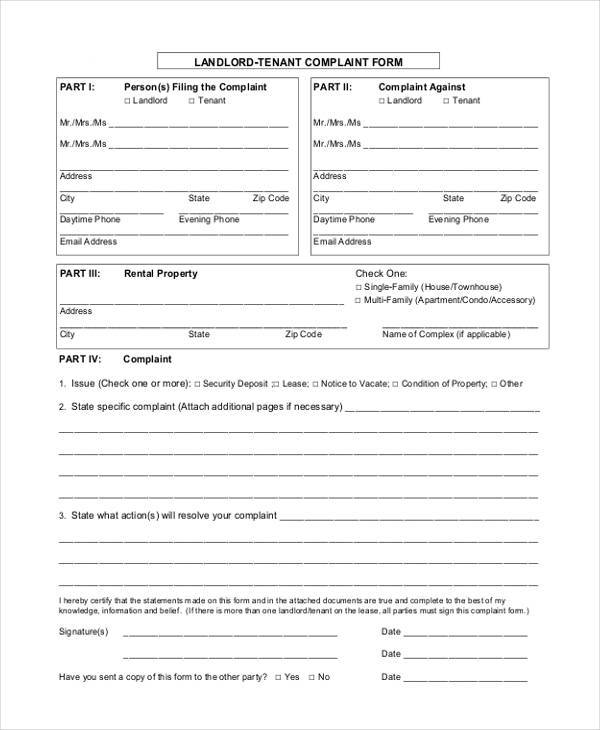 8+ Tenant Complaint Form Samples - Free Sample, Example Format Download