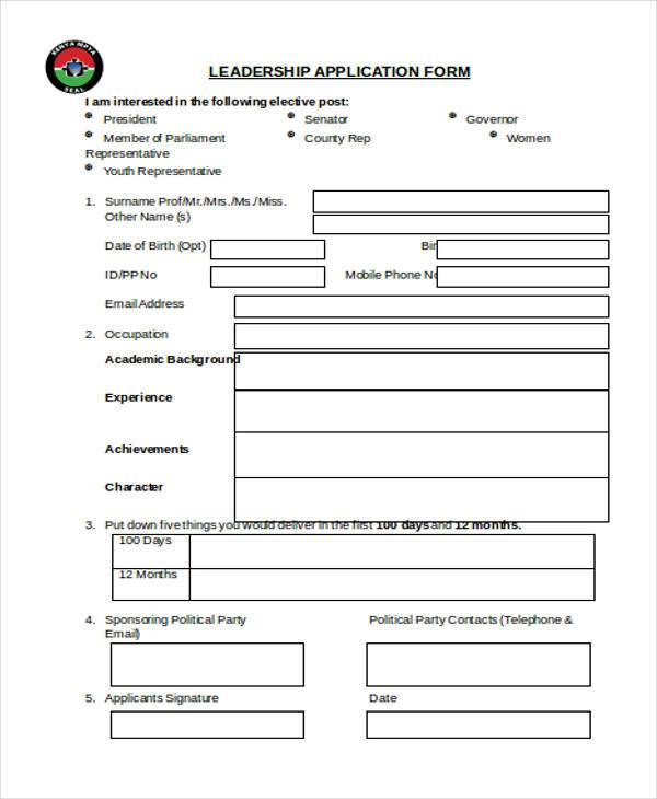 Sample Leadership Application Forms - 8+ Free Documents in Word, PDF - application form in doc