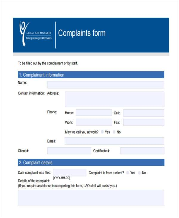7+ Legal Complaint Form Samples - Free Sample, Example Format Download