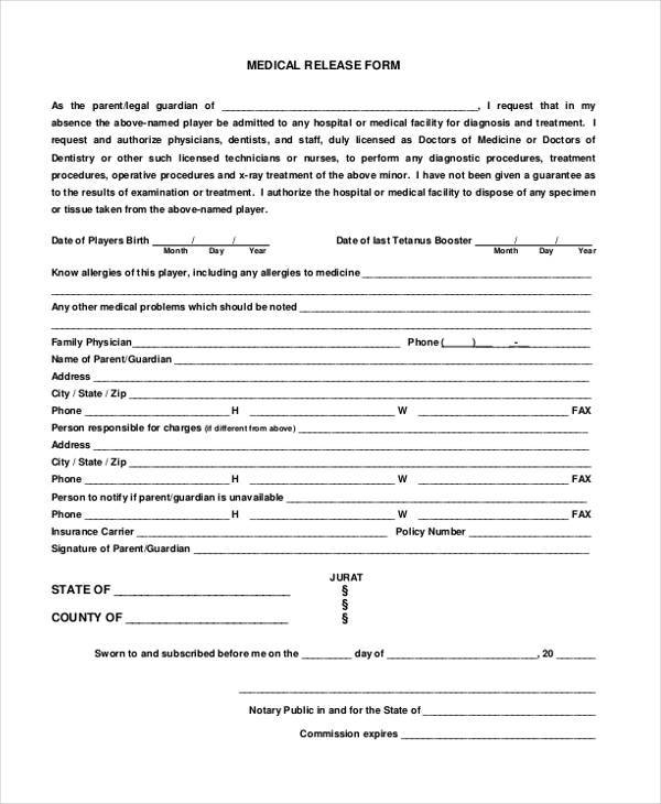 7+ Legal Release Form Samples - Free Sample, Example Format Download - medical release form sample