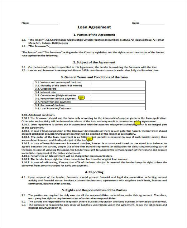 7+ Loan Contract Form Samples - Free Sample, Example Format Download - loan contract sample