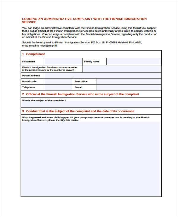 Doc#460595 Customer Complaint Form Examples U2013 Customer Complaint