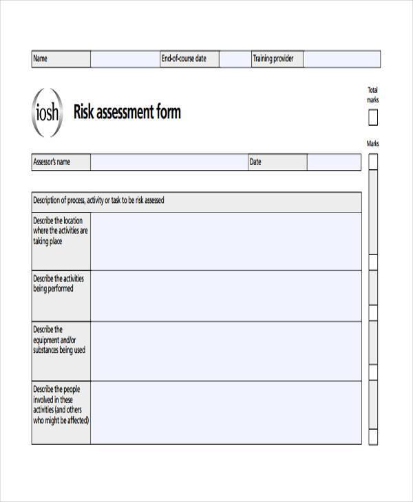 assessment form sample