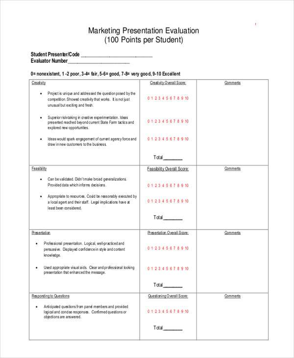 Evaluation Forms In PdfPresentation Evaluation Form Sample Poster - sample presentation evaluation form example