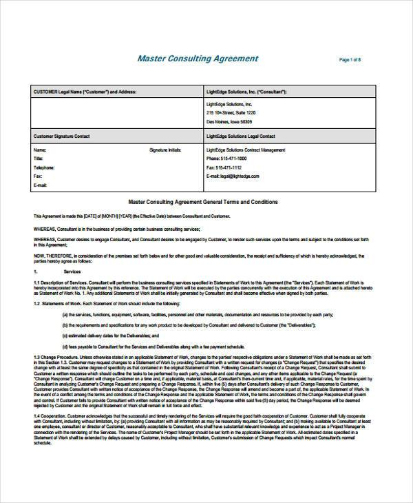 Consulting Agreement Form Samples   7+ Free Sample, Example Format    Management Consulting Agreement