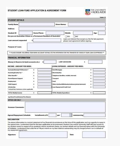 Sample Student Loan Agreement Forms - 8+ Free Documents in Word, PDF - financial loan agreement template
