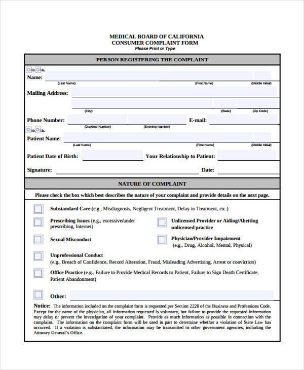 sample patient complaint form efficiencyexperts - sample consumer complaint form