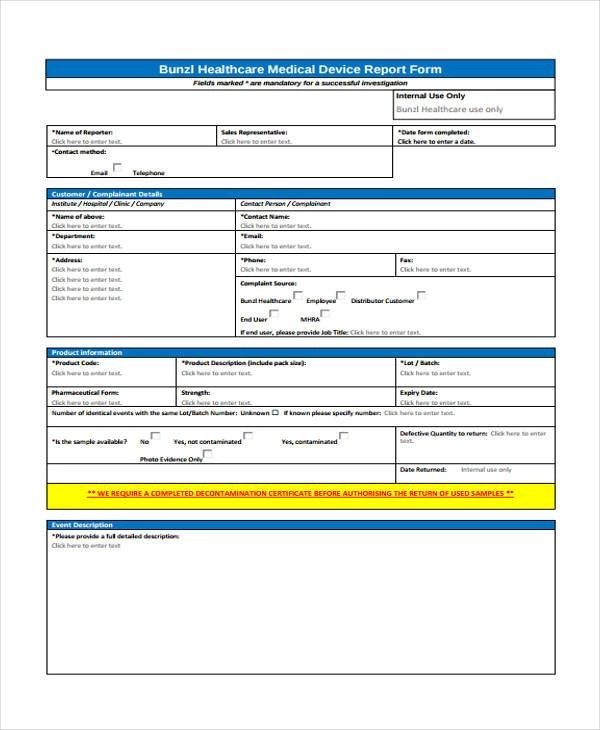 9+ Medical Complaint Form Samples - Free Sample, Example Format Download - customer complaints form template