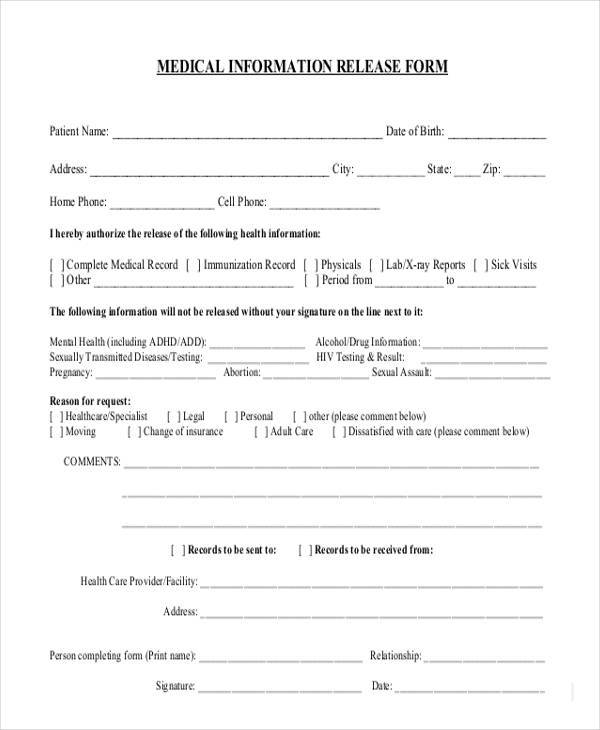 8+ Information Release Form Samples - Free Sample, Example Format - Medical Information Release Form