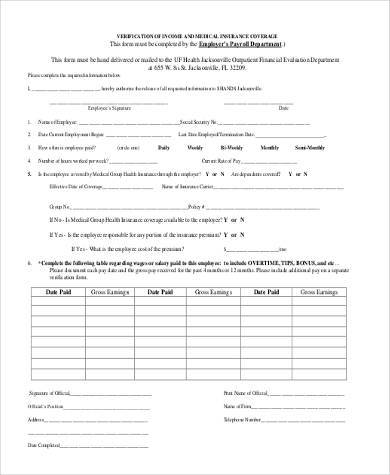 Sample Medical Verification Forms - 9+ Free Documents in Word, PDF - medical form in pdf