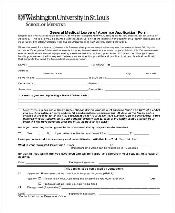 8+ Medical Application Form Samples - Free Sample, Example ,Format - format of leave application form