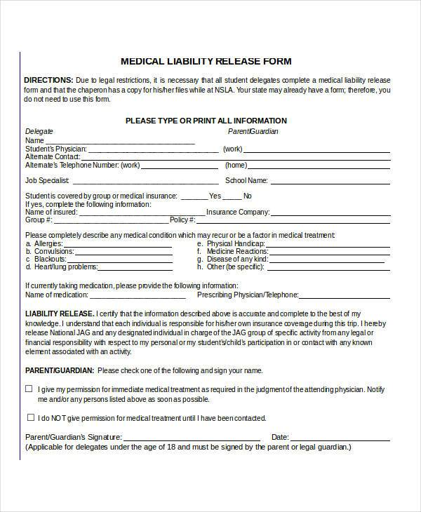 Sample Liability Release Form Printable Sample Liability Release - general liability release form template