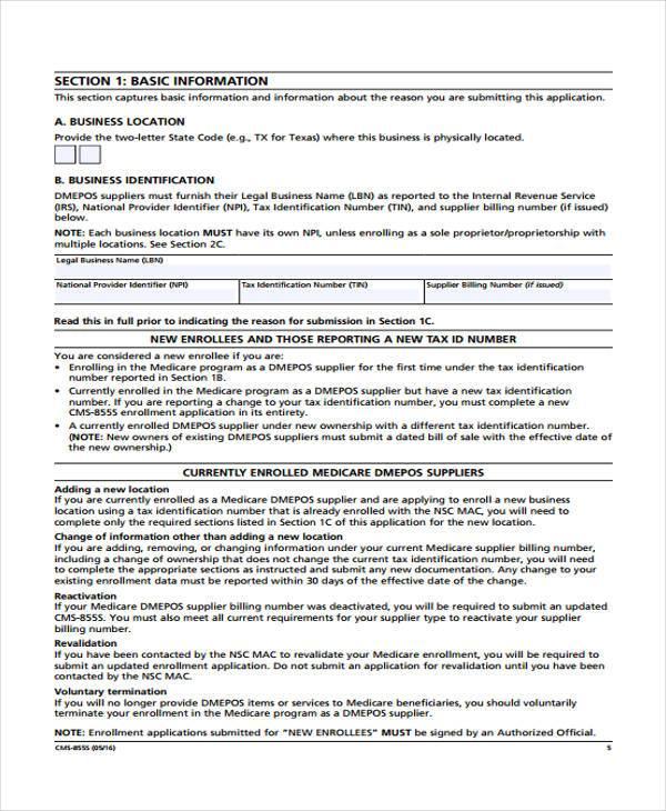 Medicare Application Form Medicare Enrollment Form Document With - sample medicare application form