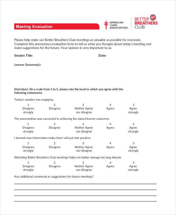Sample Meeting Evaluation Forms - 8+ Free Documents in PDF - Meeting Evaluation Form