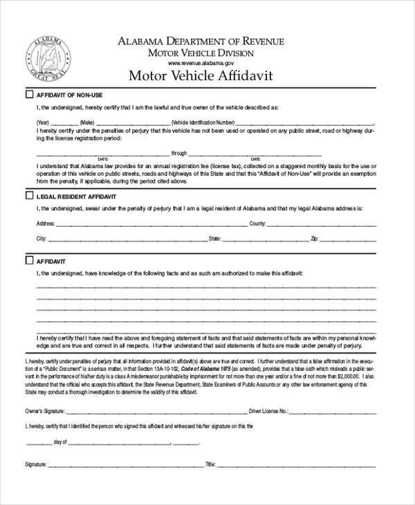 Sample Vehicle Affidavit Forms - 7+ Free Documents in PDF