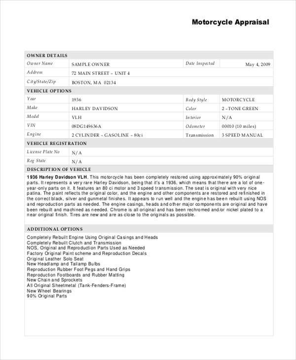Free Motorcycle Appraisal Form disrespect1st