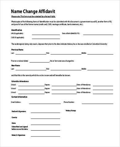 Sample Affidavit Forms in PDF - 23+ Free Documents in PDF - name affidavit form
