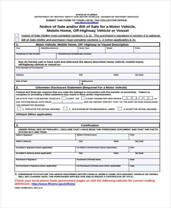 Sample ATV Bill of Sale Forms - 7+ Free Documents in Word, PDF - department of motor vehicles bill of sale form