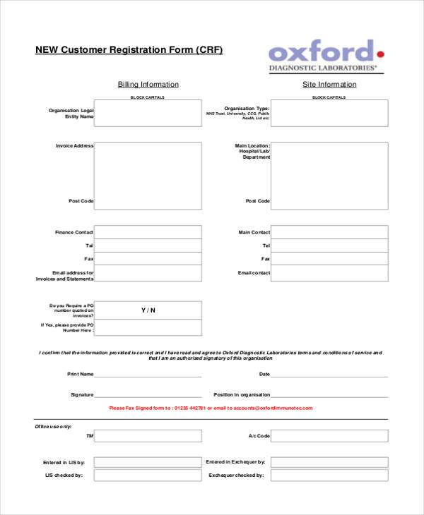 Customer Registration Form Sample Unique Customer Form Sample  Node2001Cvresume.paasprovider