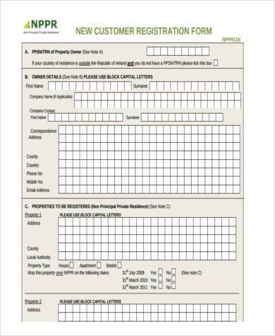 new customer form template - zrom
