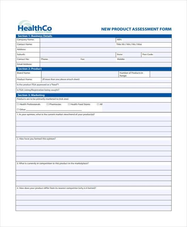 7+ Marketing Assessment Form Samples - Free Sample, Example Format - product evaluation form