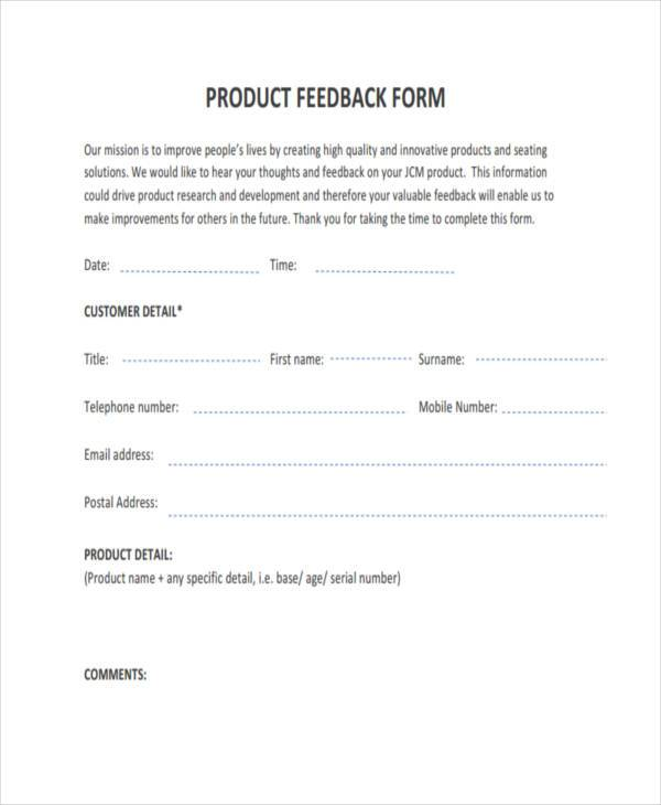 Sample Product Feedback Forms - 9+ Free Documents in Word, PDF - free feedback form