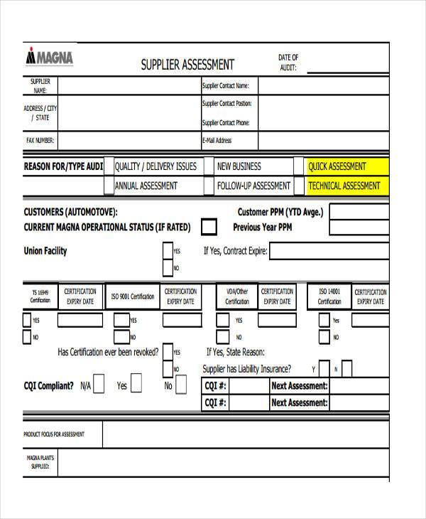 Supplier Evaluation Form Iso Supplier Evaluation Form Download