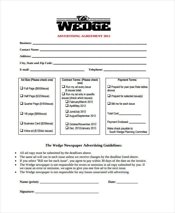 Sample Advertising Contract Forms - 8+ Free Documents in Word, PDF - advertising contract agreement