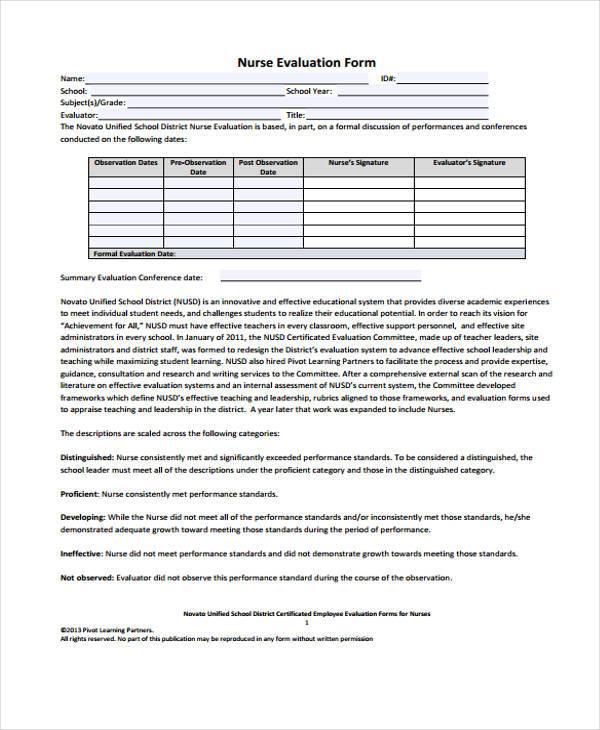 7+ Nurse Evaluation Form Samples - Free Sample, Example Format Download - sample interview evaluation