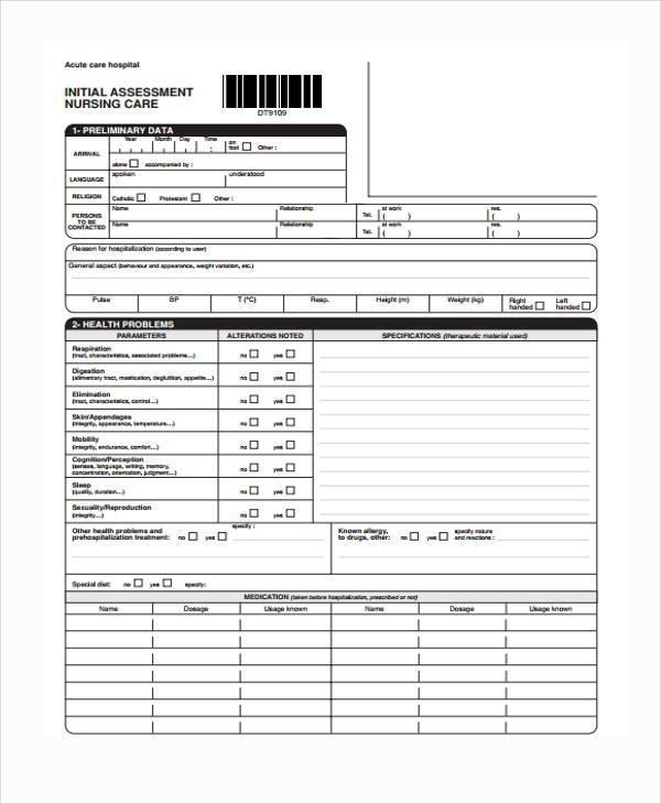7+ Nursing Assessment Form Samples - Free Sample, Example, Format