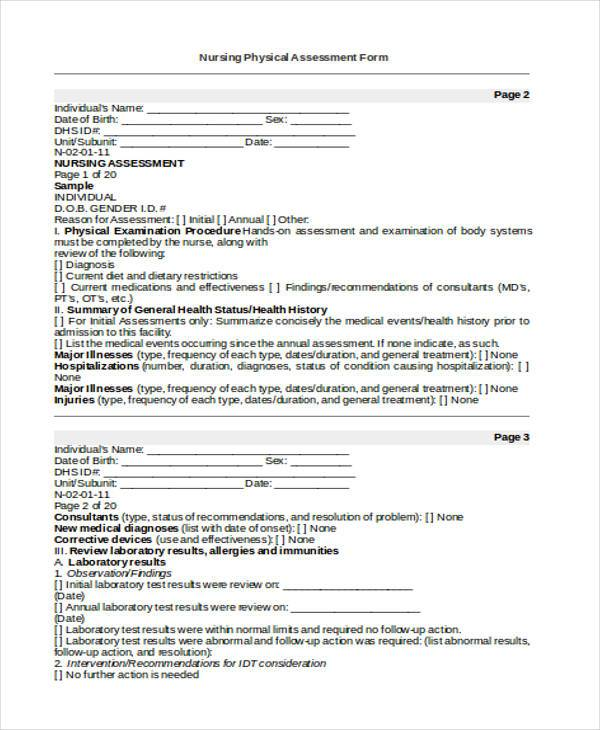 Sample Blank Assessment Forms - 28+ Free Documents in Word, PDF - nursing assessment forms